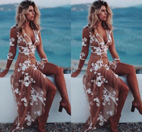 Livraison gratuite Sexy Boho Robes de soirée V Neck 3/4 Manches longues dentelle Appliques Tulle Beach Robe de femmes de plancher Longueur Illusion Robe de bal