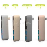 5 في 1 Combo Type C Hub USB C USB 3.0 Slot-in Hub Micro SD / SD Card Reader Hub with Charging Port for Macbook