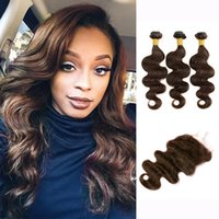 3 Bundles With Lace Closure Color 2 4 Dark Brown Body Wave H...