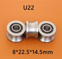 10ピース高品質U22 ABEC-5 8mm V / U溝プーリーベアリング8 * 22.5 * 14.5 * 13.5 mm U溝ローラーホイールボールベアリング