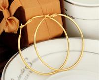 Новый 18K Желтые позолоты Золота Slims Большой Обруч Серьги Ювелирные Изделия Оптовая Модные Узор Круг круглые Серьги для Женщин ER-956