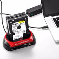 Бесплатная доставка ЕС Plug HDD док-станция Dual USB 2.0 2.5 / 3.5 дюймов IDE SATA внешний HDD Box жесткий диск корпус кард-ридер