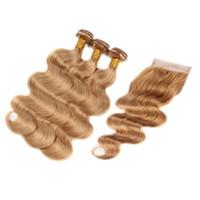 Trama dei capelli umani del Virgin dell'onda del corpo di Virgin peruviana del miele con la chiusura del pizzo 4x4 # 27 pacchi dei capelli dell'onda del corpo con chiusura superiore