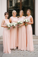 Elegant Long Blush Chiffon Country Bridesmaid Dresses 2017 Jewel Neckline Formal Wedding Guest Dress Cheap Maid of Honor Gowns