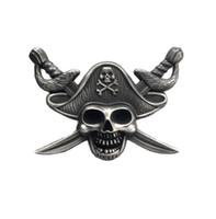 Pirati di lusso del caribbe Badge Skull Brooch Moto Biker Biker Spille per giacca cappello Retro Metallo Collare Pin Spilla
