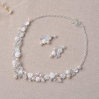 Güzellik Gümüş Çiçek Gelin Kolye Küpe Suits 2 parça Takı Takım Elbise Düğün Gelin Takı P419014