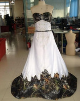Newest Vintage A- Line Sweetheart Camo Satin Wedding Dresses ...