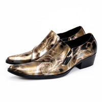 Nuovo Chaussure Homme Summer Style Dress Shoes Uomo Designer Zapatos Hombre Print High Heels Mocassini Uomo Wedding Formal Shoes Uomo