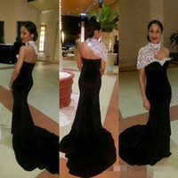 Stunning Formal Black Mermaid Evening Gowns 2017 Crystal High Neck One Sleeves Sexy Open Back Velvet Court Train Prom Celebrity Party Dress