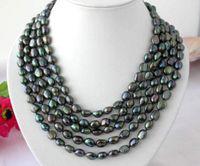 Lange 100 Zoll 10-11mm barocke schwarze natürliche Perlenkette