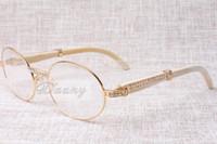 2017 nueva moda de alta gama retro diamante de ganado blanco cuernos cristales para gafas T7550178 macho y hembra redondos modelos, tamaño: 57-22-135mm