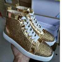 {Box} Men & Women Gold Leather With Rhinestone High Top Red ...