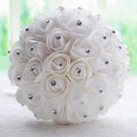 6 색 크리스탈 신부 꽃다발 핑크 흰색 상아 인공 장미 꽃 라인 석 센터 장식 신부 꽃 장식 웨딩 장식