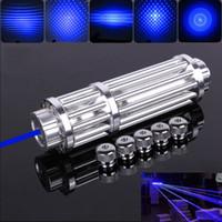 De alta potencia de láser azul pluma Punteros enfoque del modelo de los adaptadores de lente óptica de cristal class4 Lazer + 5 estrella tapones de transporte gratuito