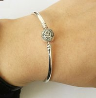 fashion 925 sterling silver bracelet with rose flower paved ...