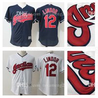 Embroidery Cleveland Indians 12 Francisco Lindor Maillots de Baseball MLB Men's Majestic Alternate Navy Official Cool Base Replica Player Jersey
