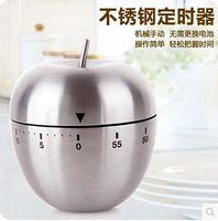 Cuisine créative en acier inoxydable minuterie de cuisine minuteur Argent Apple compte à rebours mécanique rappel réveil