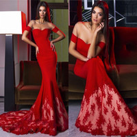 2019 Red Long Mermiad Evening Dresses Sweetheart Off the Sho...