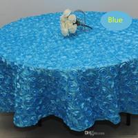 Toptan 120 inç beyaz renk Düğün Masa Örtüsü Yuvarlak bindirmeler 3D Rose Petal Yuvarlak Masa örtüler Düğün Dekorasyon Tedarikçi 7 Renk