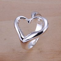 hot sale Open heart sterling silver jewelry ring for women W...