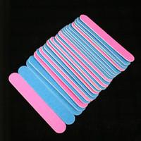 Wholesale- 100/240 Grit Levigatura Lima per unghie 1.3x6cm 100pcs Rosa / blu Due colori Straight Edge Stick Nail Art Salon Glitter Tools