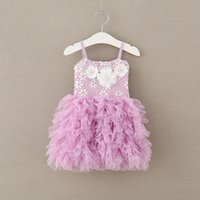 Girls Tulle Lace Dresses Baby Girl 3D Floral Pearl Party Dre...