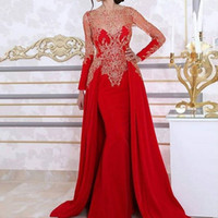 Red Saudi Arabic Mermaid Evening Dresses Bateau Neck Long Sl...