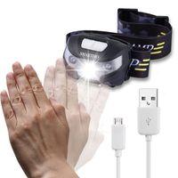 2017 körper motion sensor wasserdichte scheinwerfer mini led scheinwerfer usb wiederaufladbare outdoor camping taschenlampe kopf taschenlampe lampen