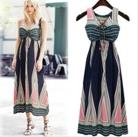 New Summer Bohemian Fashion Women' s Long Dress V Neck S...