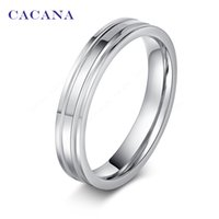 Wholesale- CACANA Stainless Steel Rings For Women Mirror Shi...
