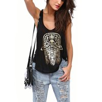 Wholesale-Hot Women Gold Hamsa Hand Print Vest Tops Loose Sleeveless Tanks Punk Tops frete grátis