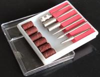 6pcs Drill Bit e banda di levigatura per nail trapano set di ricambio per unghie file elettrico in metallo