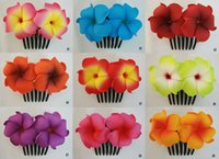Hawaiian Plumeria Foam Flower Hair Comb Choose color bride h...
