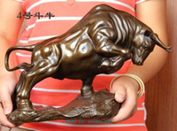 "Grandi dimensioni Caffè in bronzo Wall Street Fierce Bull OX Figure Statue 14 ""Long"