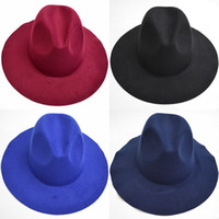 Nuevas mujeres de lana fieltro Sombreros de Fedora Moda suave para mujer de ala ancha Sombreros de mujer de estilo británico Retro Top Hat primavera invierno GH-66