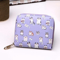 New Brand Designer Cute Cartoon Cat Short Purse Multicolor W...