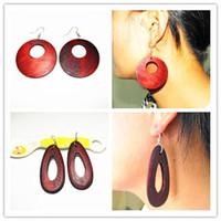Vintage Drop Hoop Wood Earring Simple sculpture DIY Mode Huggie Boucles d'oreilles fait à la main des femmes Brand New arrivée cadeaux de Noël Remise 30pcs / lot