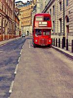 Fondali Europei di Fotografia Fondali Vinilici Vintage Edifici Rosso Autobus a due piani Bambini Bambini Foto di matrimoni Sfondo all'aperto