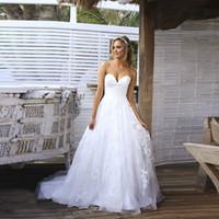 Billig weiße einfache brautkleider a-line appliques schatz offene kleider für braut lange vestios de novia sexy