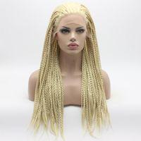 Iwona Haargeflecht lange leichte blonde Perücken hochwertige hitzebeständige synthetische Spitzenfrontperücken