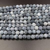 Natural Resistência Negra Ágata Pedra Beads 8mm Rodada Solta Pérolas Para DIY Pulseira Colar de Jóias Fazendo Ágata Bead