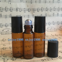 5ml AMBER Roller Bottles for Essential Oils Stainless Steel ...