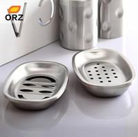 2 set Scatola di sapone in acciaio inox Scatola di sapone porta sapone titolare del supporto del portabicchiere del bagno