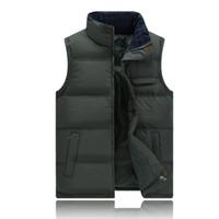 Gros- Nouvelle Marque Hiver Hommes Vest Veste sans manches Gilet thermique Outwear Casual Hommes Coton rembourré Slim Gilet Gilet Homme