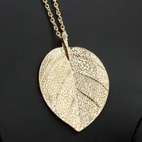 Heißer Verkauf Mode Charme Blatt Design Anhänger Halsketten Schmuck Gold Farbe Pullover Kette Frauen Lange Halskette Collier Femme Geschenk