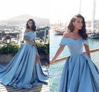 Light Sky Blue Off the Shoulder Long Evening Dresses 2019 Ne...