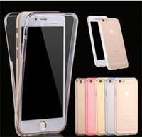 Caso de cuerpo completo de 360 grados delante detrás suave transparente TPU la cubierta para el iphone 5s 6 7 más Nota borde S7
