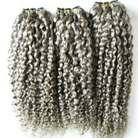 Brasileña rizado rizado virgen del pelo humano gris rizado tejer pelo virginal brasileño virginal extensiones de cabello gris 300 g 3 unids