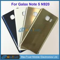أعلى جودة لسامسونج غالاكسي Note5 ملاحظة 5 N920 N920F غطاء البطارية الباب الخلفي الخلفي الإسكان مع لاصق 4 اللون