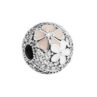 Beads de prata para mulher poética flores misturadas esmaltas clear cz bead encaixe pandora pulseira original 925 esterlina-prata-jóias fazendo encantos